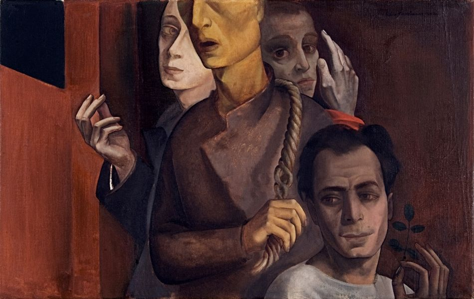 "Painting ""Self-Portrait Wearing a Shroud (Group Portrait)"" by Felix Nussbaum from the year 1942"