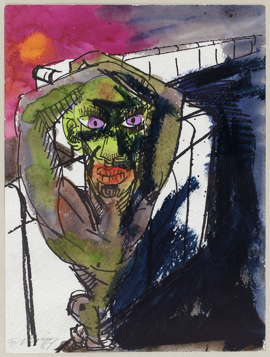 Rainer Fetting, Figur an der Mauer, 1987
